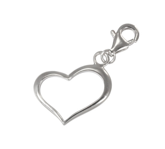 TheCharmWorks Sterling Silver Open Heart Clip on Charm