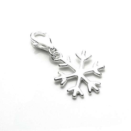 Sterling Silver Winter Snowflake Clip on Charm