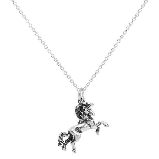Sterling Silver Prancing Unicorn Necklace on Trace Chain 16 - 22 Inches