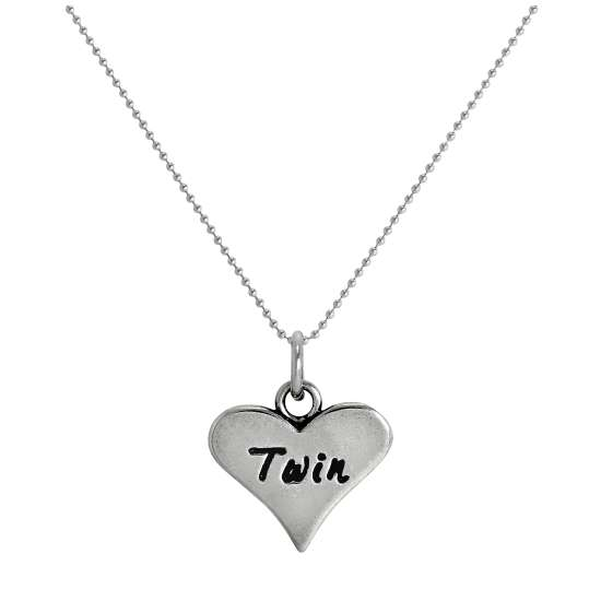 Sterling Silver Twin Heart Pendant Necklace 14 - 22 Inches