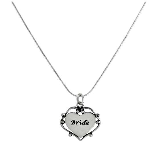 Sterling Silver Bride Heart Pendant Necklace 14 - 22 Inches