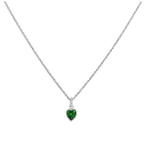 Sterling Silver Emerald Green Heart Crystal Pendant Necklace 14 - 22 Inches