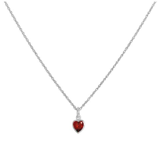 Sterling Silver Siam Red Heart Crystal Pendant Necklace 14 - 22 Inches