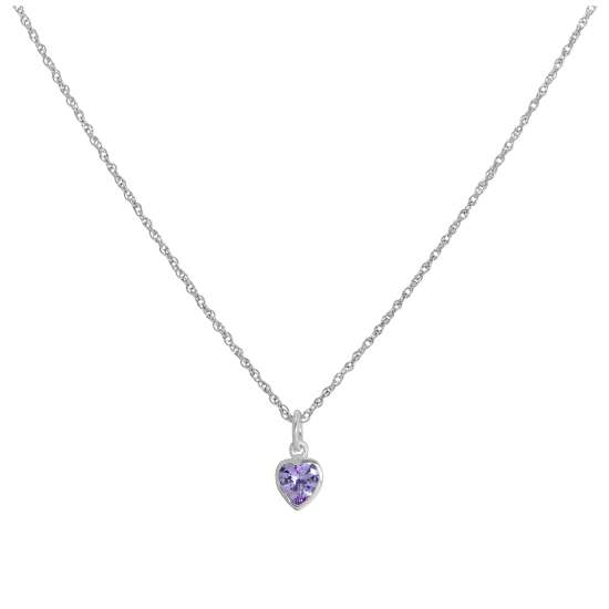 Sterling Silver Purple Heart Crystal Pendant Necklace 14 - 22 Inches