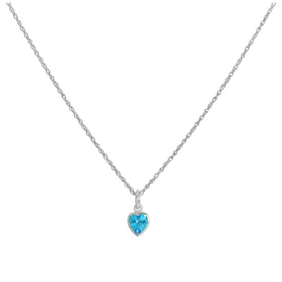 Sterling Silver Blue Heart Crystal Pendant Necklace 14 - 22 Inches