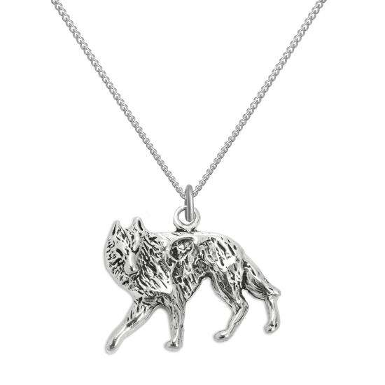 Sterling Silver Wolf Pendant Necklace 16 - 22 Inches