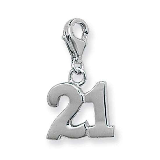TheCharmWorks Sterling Silver 21st Birthday Clip on Charm