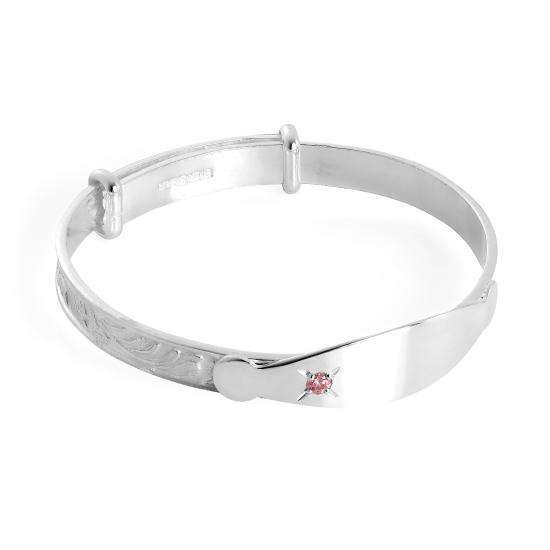 Small Sterling Silver Engravable Expandable Baby Bangle with Pink CZ Crystal