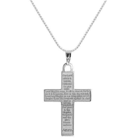 Sterling Silver Cross with Lord's Prayer Pendant Necklace