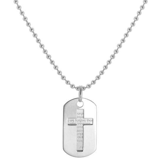 Sterling Silver Lord's Prayer & Cut Out Cross Dog Tags Pendant Necklace
