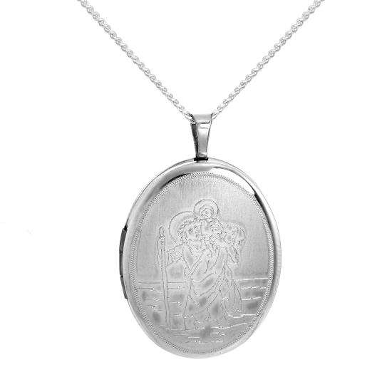 Sterling Silver Engraved St Christopher Oval Locket on Chain