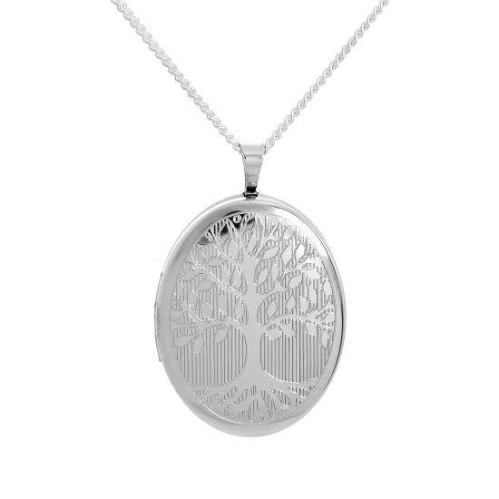 Sterling Silver Engraved Tree of Life Oval Locket on Chain