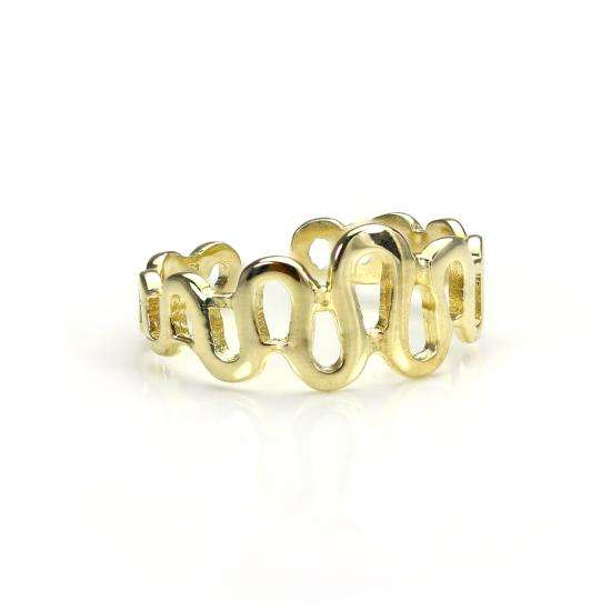 9ct Gold Adjustable Wave Toe Ring