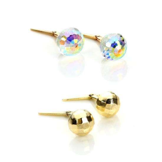 9ct Gold & Crystal Andralok Mirrorball Stud Earrings Set