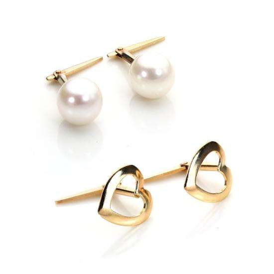 9ct Gold Andralok Heart & Pearl Stud Earrings Set