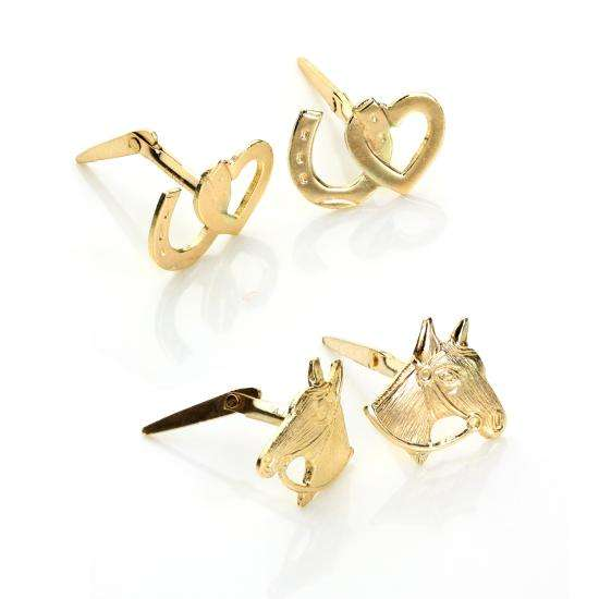 9ct Gold Andralok Horse Stud Earrings Set