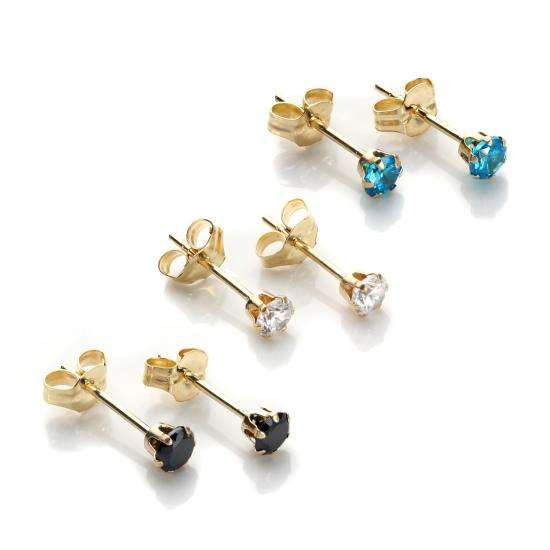 9ct Gold 3mm Evening Crystal Stud Earrings Set
