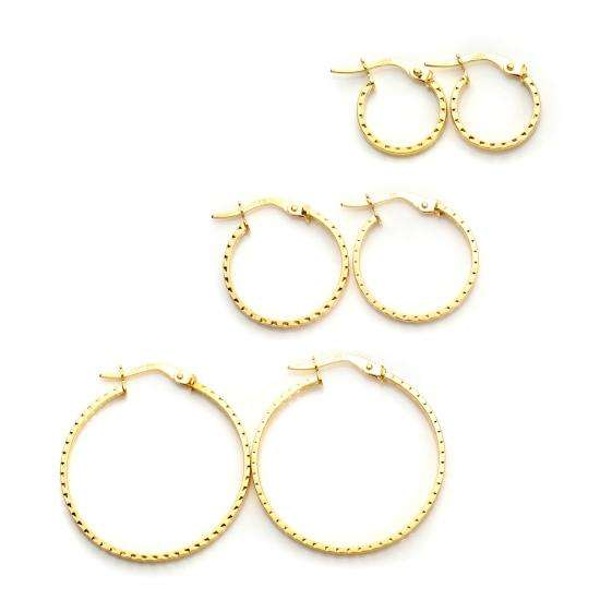 9ct Gold Patterned Diamond Cut Hoop Earrings Set