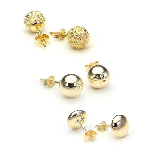 9ct Gold Luxury Ball Stud 6mm Stud Earrings Set