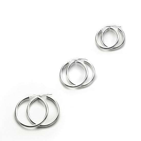 Heavy Sterling Silver Everyday Hoops Set