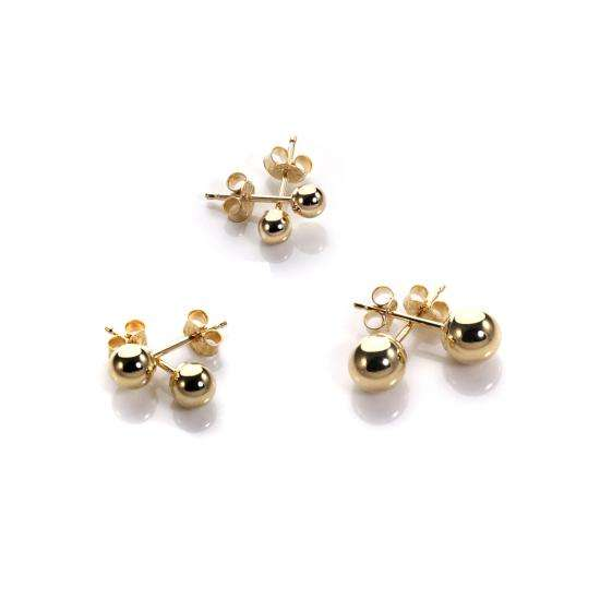 Classic 9ct Yellow Gold Ball Stud Earrings Set