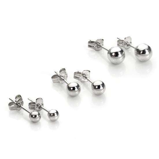 Classic 9ct White Gold Ball Stud Earrings Set