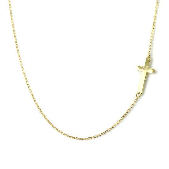 Fine 9ct Gold Trace Chain Necklace with Cross 16 Inches