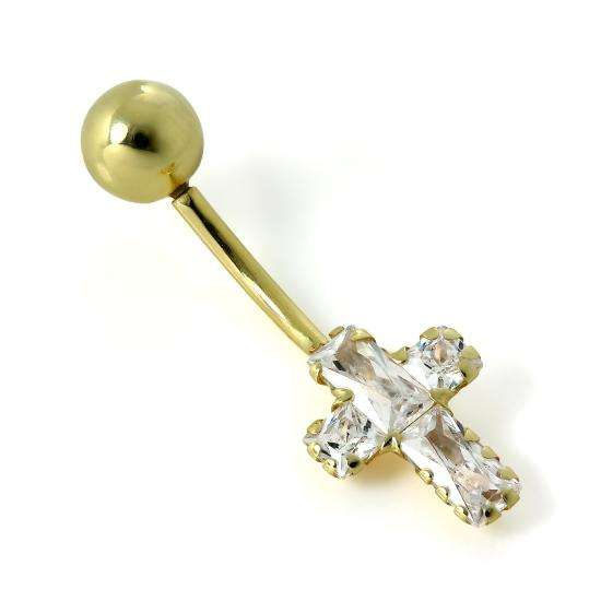 9ct Gold Clear CZ Crystal Cross Belly Bar