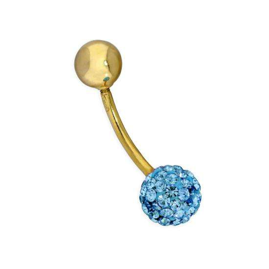 9ct Gold & Blue CZ Crystal Belly Bar