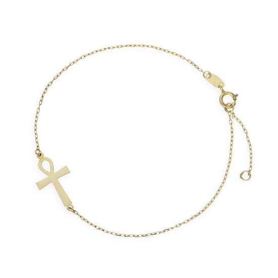 9ct Gold Ankh Bracelet 6.5 Inches w 1 Inch Extender