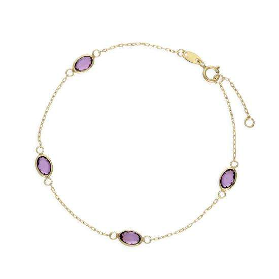 9ct Gold & Purple CZ Crystal Bracelet 6.5 Inches w 0.5 Inch Extender