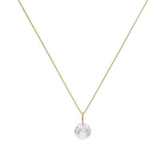 9ct Gold & Clear CZ Crystal Pendant Necklace 16 - 20 Inches