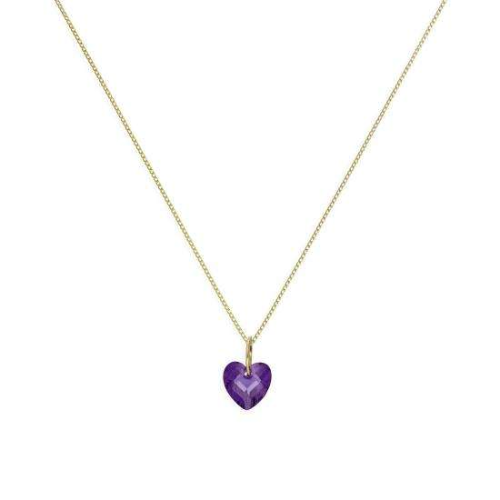9ct Gold & Purple CZ Crystal Heart Pendant Necklace 16 - 20 Inches