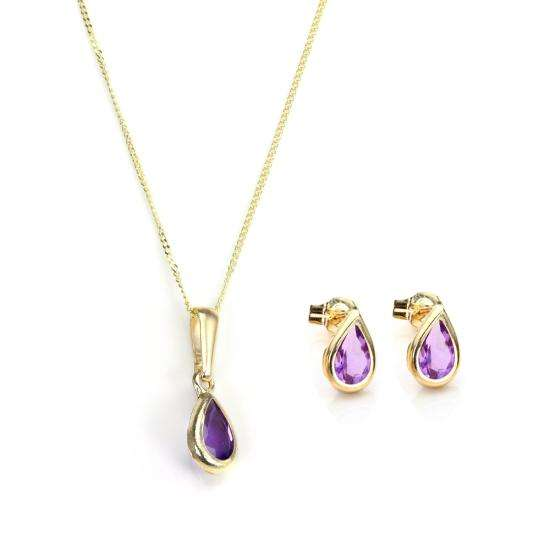 9ct Gold & February Birthstone Pendant & Stud Earrings Set
