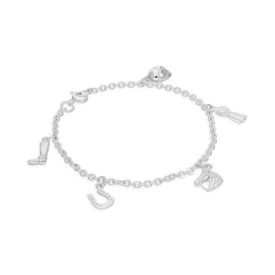 Sterling Silver 7 Inch Bracelet with Equestrian Charms