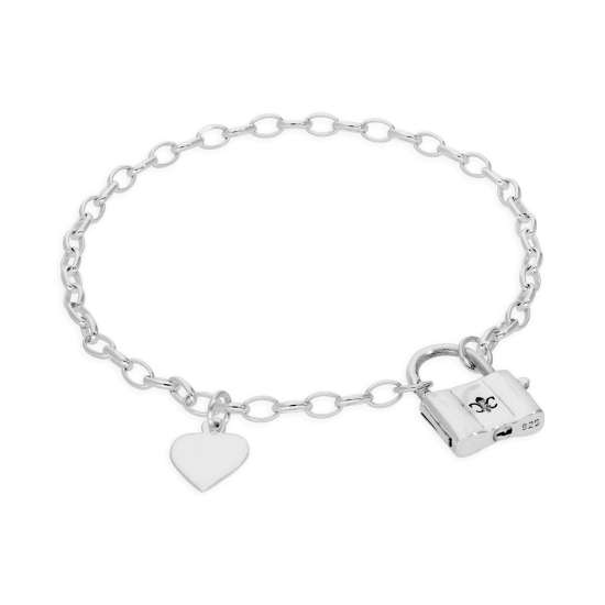 Sterling Silver 7 Inch Bracelet with Heart Tag & Padlock