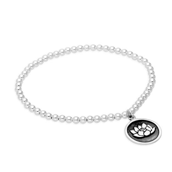 Sterling Silver Stretchy 7 Inch Bead Bracelet with Round Lotus Charm