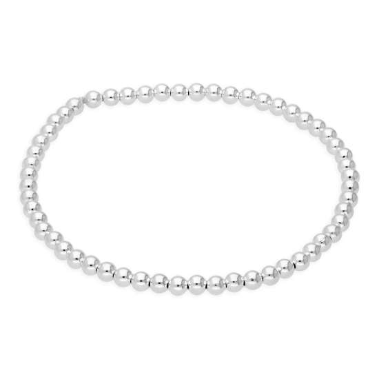Sterling Silver Stretchy 7 Inch 3mm Curb Bead Bracelet