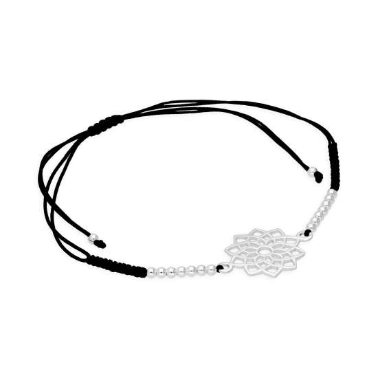 Sterling Silver & Black Cord Crown Chakra Bracelet