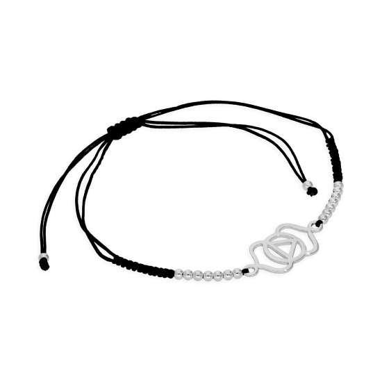 Sterling Silver & Black Cord Third Eye Chakra Bracelet