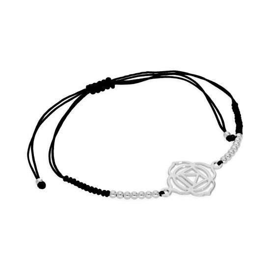 Sterling Silver & Black Cord Root Chakra Bracelet