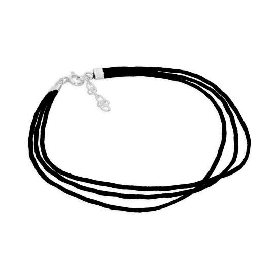 Sterling Silver & Triple Black Cord 7.5 Inch Bracelet with 1 Inch Extension