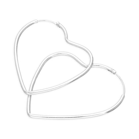 Large 42mm Sterling Silver Heart Hoop Earrings
