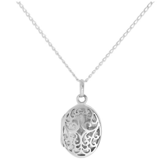 Sterling Silver Oval Locket with Cut Out Filigree Design on Chain 16 - 24 Inches