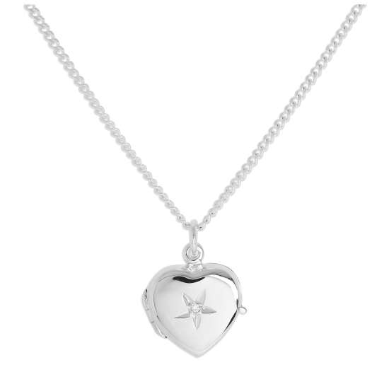 Small Sterling Silver Heart Locket with Diamond on Chain 16 - 24 Inches