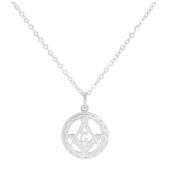 Sterling Silver Masonic Emblem Pendant Necklace 16 - 22 Inches