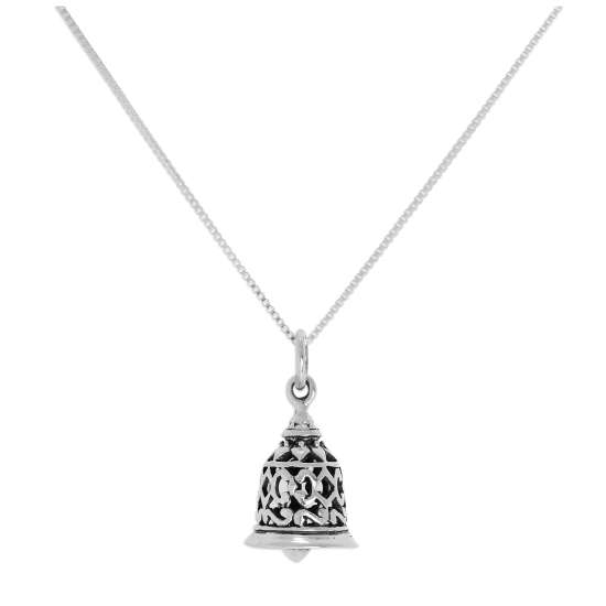 Sterling Silver 3D Ringing Bell Pendant Necklace 14 - 22 Inches