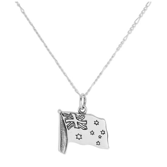 Sterling Silver Australian Flag Pendant Necklace 14 - 32 Inches