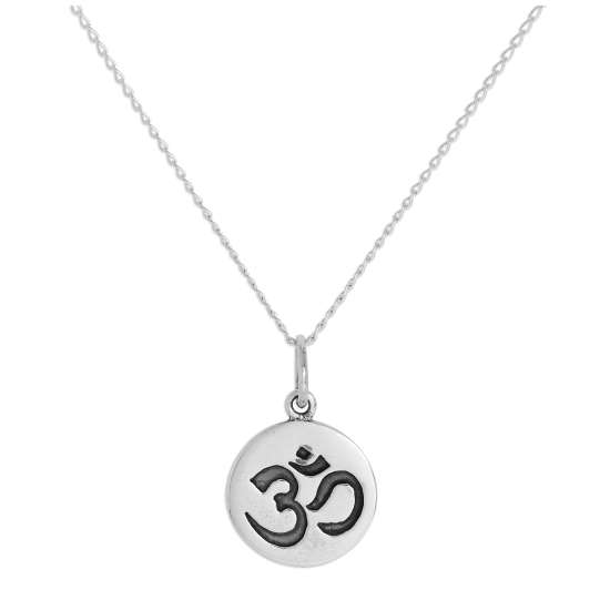 Sterling Silver Round Omh Pendant Necklace 14 - 32 Inches