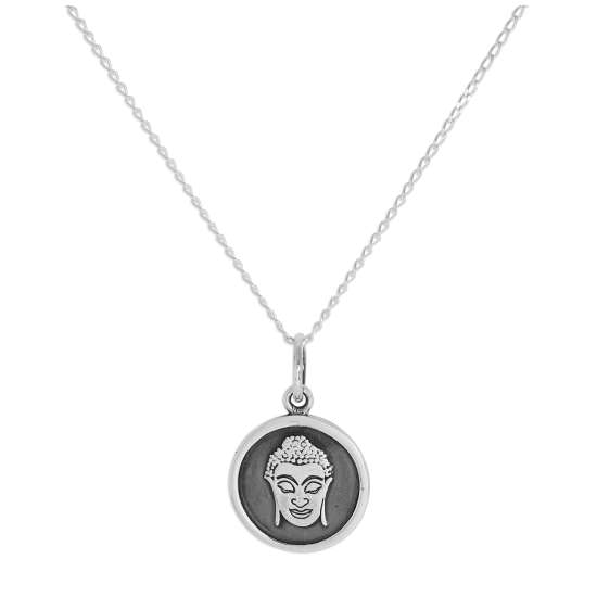 Sterling Silver Round Buddha Face Pendant Necklace 14 - 32 Inches